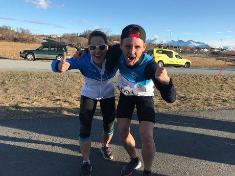 Therese Bøkeid og Sondre Skjelvik var raskest i det andre løpet i Gampen. Foto: Bedriftsidretten i Nordland