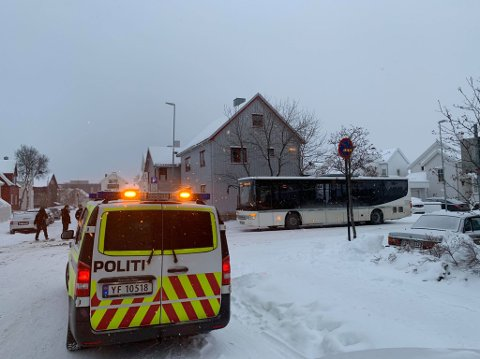 Bussen og taxien støtte sammen i Bodø sentrum.
