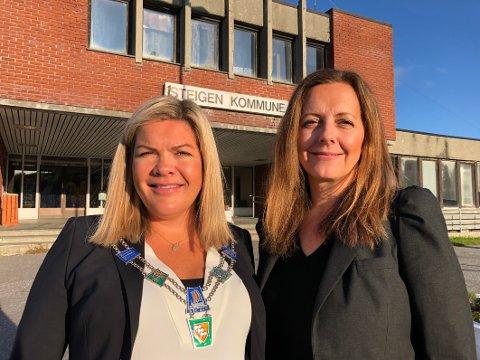 Overtar: Mens Aase Refsnes (t.v.) er ute i permisjon fram til våren 2020, skal Wibeke Aasjord Juul, Venstre, fungere som ordfører i Steigen .– Det tar jeg som en utfordring, sier Juul.