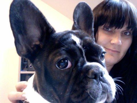 Bulldoggen Luca (7) og hundeeier Monica Tangen (40)