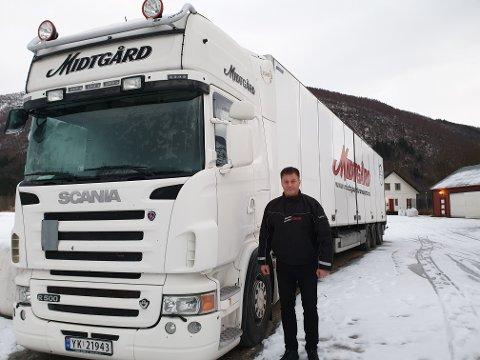 Torbjørn Midtgård daglig leder i Midtgård transport AS med base på Rognan i Saltdal kommune.
