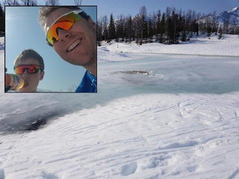 Det var her de gikk gjennom isen.