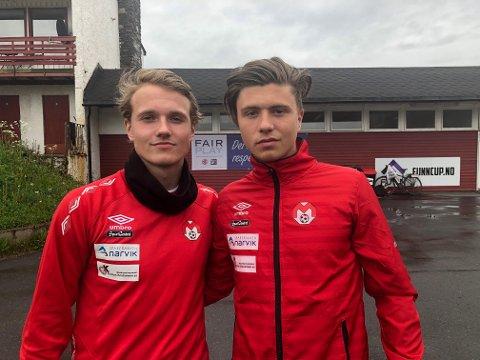 Adrian Skindlo (t v) og William Arne Hanssen er Glimt-hjelp til Mjølner.