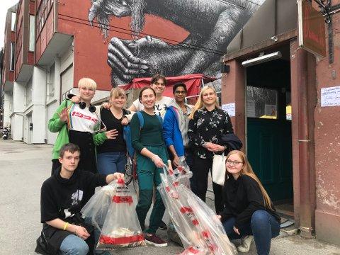 Ryddet byen: Bodø Ungdomsråd har tat grep og ryddet flere steder i Bodø. Nå håper de på flere søppelbokser i byen og på turstier.