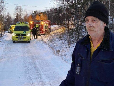 Nabo: Arne Ringberg er nærmeste nabo til huset på Bognes som brant ned natt til onsdag.