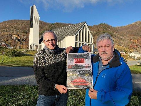 Konsertarrangør: Stein-Harald Kvalvik (t.v.) og Roy-Arne Westermann har gått sammen om å arrangere konsert basert på Kvalviks tekster. Det skjer i Kjøpsvik kirke lørdag 7. november.