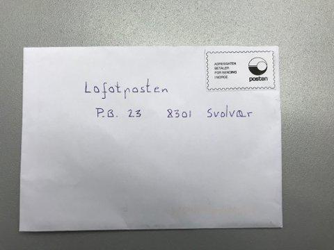 """PORTOSVINDEL: Et utklippet, falskt """"frimerke"""" er trolig brukt til å få brevet distribuert."""
