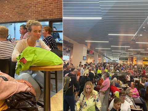 Therese Gjelseth (25) hennes to små barn, og resten av familien har vært sandfaste på Gran Canaria siden lørdag. Nå er de endelig kommet hjem. Foto: Privat