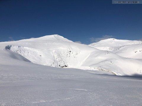STORE MASSER: Snøskredet som gikk ned fra Kvalhornet i Bodø kommune bestod av både snø- og vannmasser.