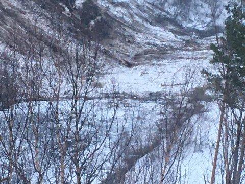 Bom stopp: Her har vannet i Saltdalselva nærmest stoppet helt opp som følge av skredet.