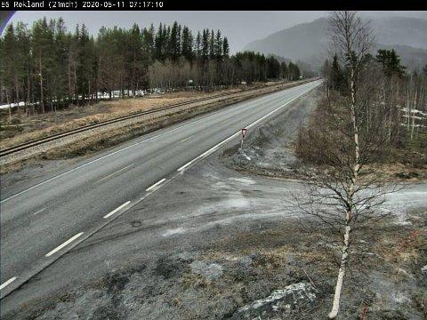 Røkland i Saltdal, mandag morgen. Foto: Statens vegvesen/Webkamera
