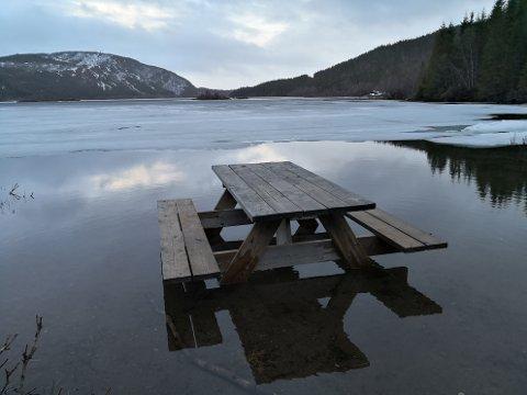 Problematisk. Snøen smelter og vannstanden stiger. Det gir trøbbel for de som setter ut poster for turorientering.