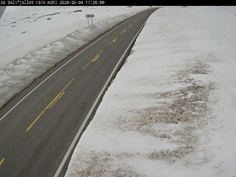 Slik så det ut ved Stødi på Saltfjellet, mandag ettermiddag. Fra tirsdag formiddag blir det snøfokk og vanskelige kjøreforhold