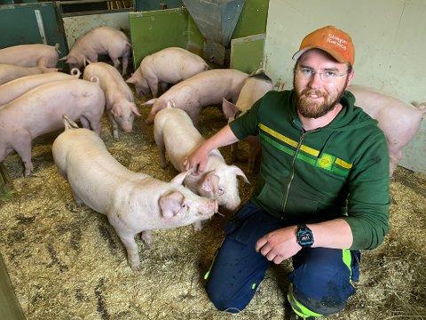 Sikker: Mads Mehus trives med å jobbe med griser. – Jeg føler meg trygg på at det er dette jeg vil, sier han.