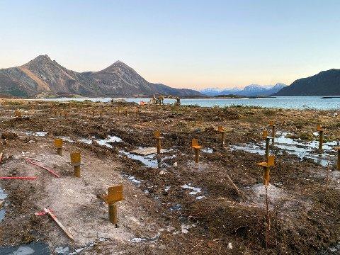 På pæler: Hyttene som bygges på Røssøya skal stå på pæler for å redusere inngrep i naturen mest mulig.