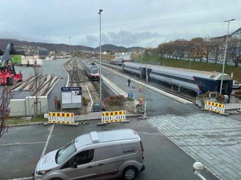 Nå er de på innspurten med den nye plattformen på Bodø stasjon.