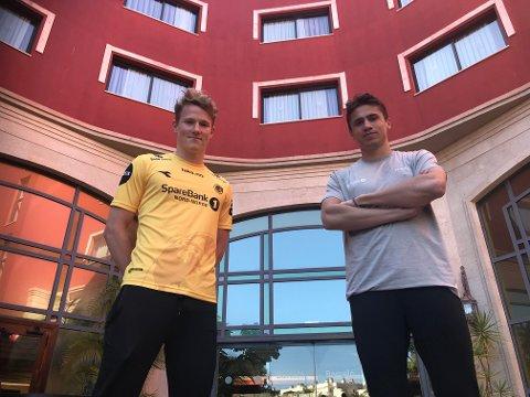 Vegard Kongsro og Sigurd Kvile kan endelig slå fast at de skal spille for Glimt de kommende fire sesongene. Torsdag terstet de begge ut sine nye klubbtrøye for første gang.