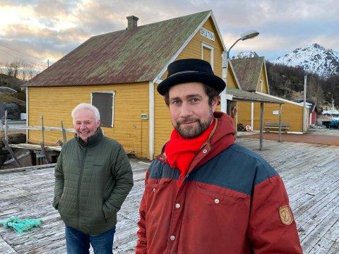 Begeistret: Styreleder Per Gunnar Nygård (t.v.) i Skutvik Utvikling AS betegner planene til Alfred Liabäck og hans samarbeidspartnere, som utmerkede. – Dette er noe vi lenge har snakket om å få til. Det er absolutt aktuelt for oss å engasjere oss i bedriften, sier Nygård.
