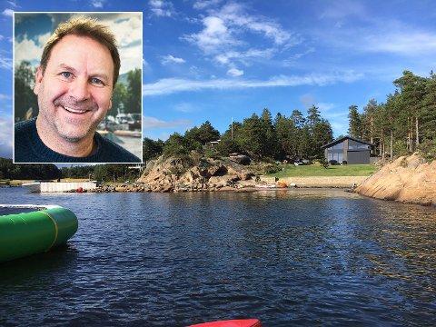 HYTTESOMMER: Svein Erik Bjerkrheim (innfelt) og familien skal tilbringe hele ferien sin på hytta i Sarpsborg. Men når deres ferie er over, vil han leie ut hytta til andre.