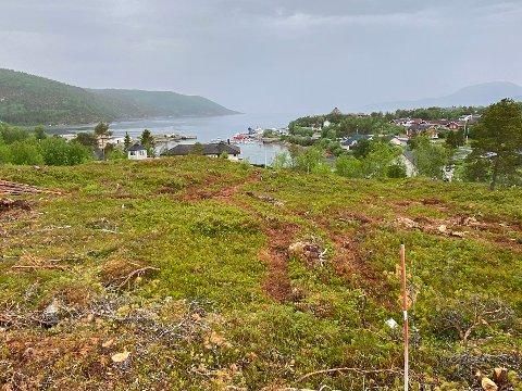 I gang: Opparbeidelsen av det private boligfeltet, Hamnhågen, på Drag er allerede i gang. Utsikten blir formidabel.
