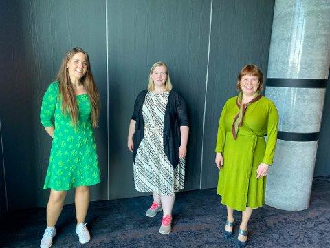 Trine Fagervik, Anette Bang og Siv Mossleth deltar alle på landsmøtet til Senterpartiet.