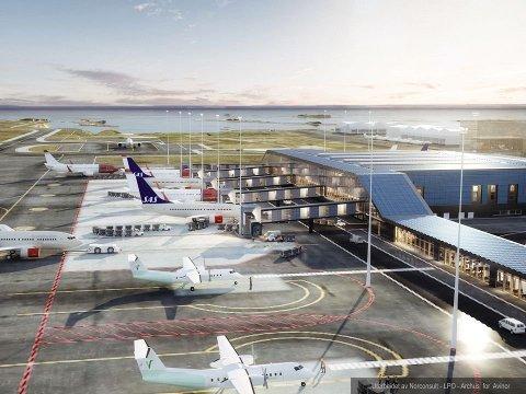 Perspektiv fra øst mot vest. Her er Widerøes pir og åtte flyoppstillingsplasser for deres fly. Den hvite skisserte bygningen mot sør er en framtidig Widerøe-hangar. I starten skal Widerøe bruke sin nåværende hangar.