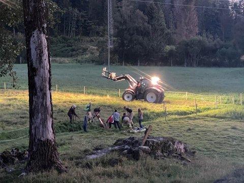 HEST: Flere personer deltar i redningsaksjonen for å få en hest opp av grøfta søndag kveld.