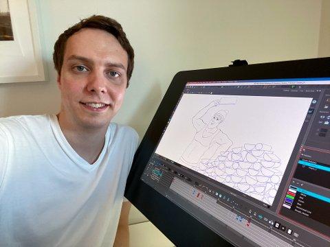 Adrian Steinbakk foran animasjonsbrettet. 33-åringen fra Rognan sa opp jobben i VGTV for å starte egen animasjonsbedrift.