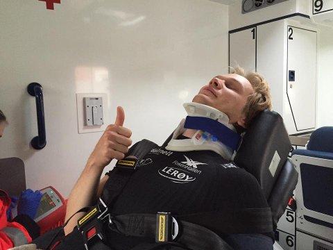 Lorentzen ble hastet til sykehus etter å ha falt stygt på trening.