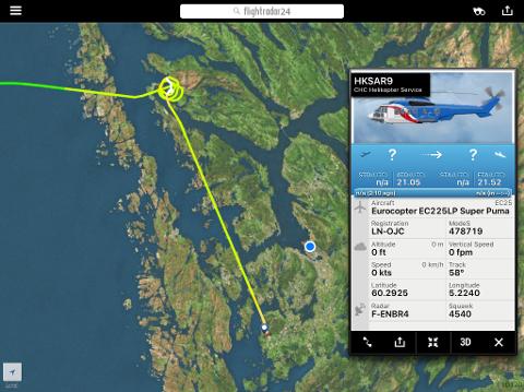 Flyhistorikken viser at dette redningshelikopteret var på plass i Herdlefjorden klokken 23 onsdag kveld.