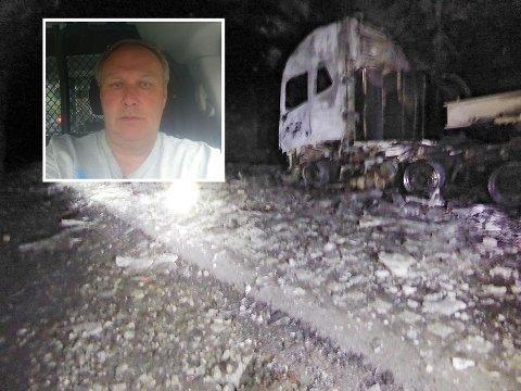 Geir Tollefsen (innfelt) sier brannen utartet seg skremmende rast. Slik så det ut i Måbøtunnelen