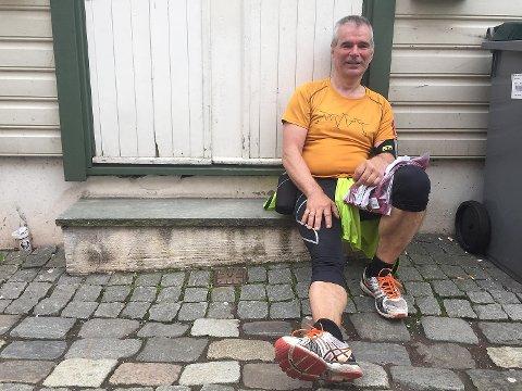 Jan Gunnar Eikehaug (58) var den første som kom i mål fra 4-fjellturen. Det de tredje gangen han går 4-fjellturen.