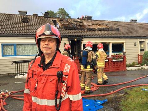 Brannvesenets innsatsleder Knut Milde.