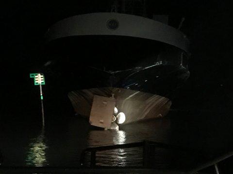 Fergen MF «Gjemnes» gikk på grunn utenfor Hjellestad i natt.