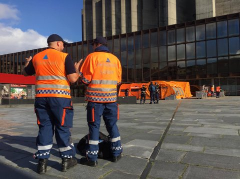 Sivilforsvaret øver i dag i Bergen sentrum.