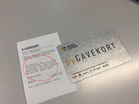 Datoen på kvitteringen gir grunn til å tro at man har over syv år på å bruke bygavekortet.
