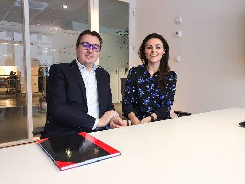 Ketil Krantz og Nina Remøy Wiik, henholdsvis leder for privatmarkedet og bedriftsmarkedet for Nordea på Vestlandet. FOTO: SVEIN TORE HAVRE