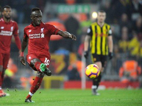 Sadio Mane har scoret det første målet i de tre siste kampene på Anfield. Vi tror han gjør det igjen på søndag. (AP Photo/Rui Vieira)