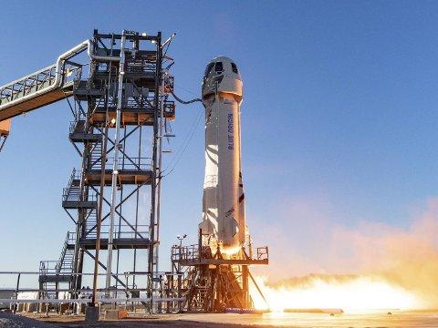 En rakett fra det private romfartsselskapet Blue Origin foretar sin tiende oppskyting.
