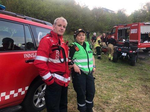Innsatsleder i brann Leif Erik Gjesdal og innsatsleder Synnøve Malkenes ved Vest politidistrikt.