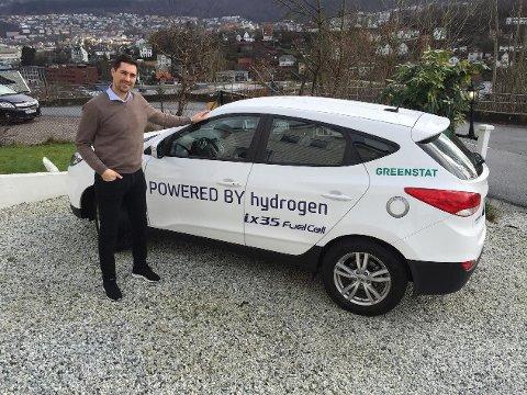 Vegard Frihammer her med Bergens første hydrogenbil tilbake i 2017.