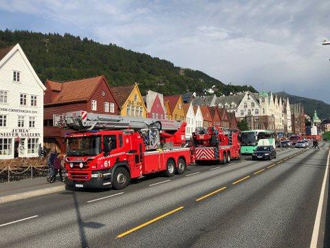 Brannvesenet rykket på nytt ut til Bryggen klokken 18 lørdag.
