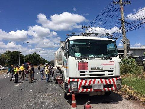 En tankbil var involvert i ulykken.