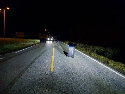 HJERTÅS: Ein personbil og ein taxi måtte begge bremse og sette på naudblinken då fleire bossunkar dukka opp i vegen.