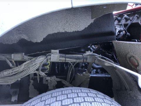 Motoren og understellet var gjennomvått av diesel.