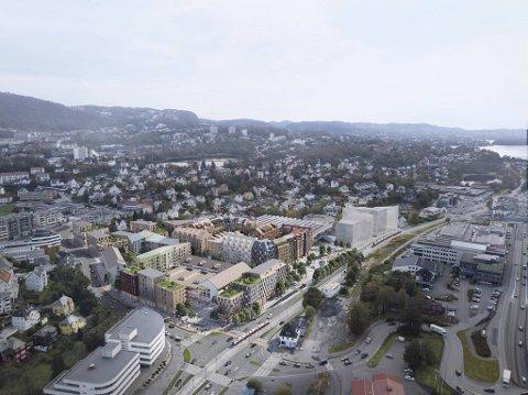 Slik ser Bonava for ser at prosjektet Bergensmeieriet skal se ut når tomten er ferdig utbygget.