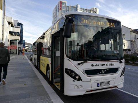 Klokken 1800 gikk siste gratisbuss til Ikea fra Bergen sentrum.