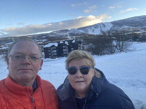 Sindre FInnes og Erna Solberg på Geilo.