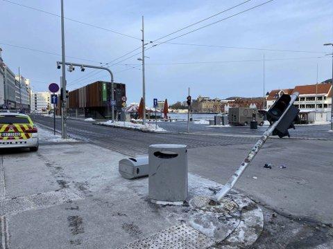 Slik så det ut etter at drosjen hadde kjørt fra stedet en søndag morgen i februar.