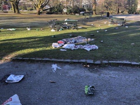 Sånn skal det ikke se ut. Bosset fløt i Nygårdsparken lørdag formiddag.